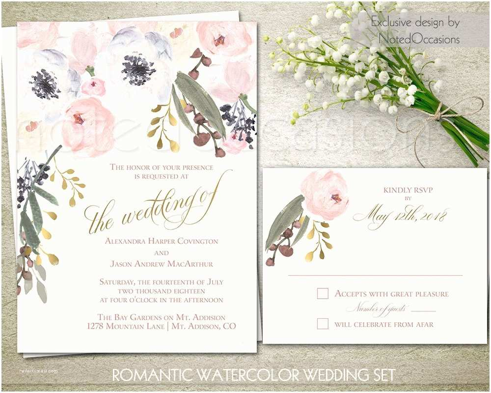 Watercolor Floral Wedding Invitations Watercolor Floral Wedding Invitations Printable Blush and Gold