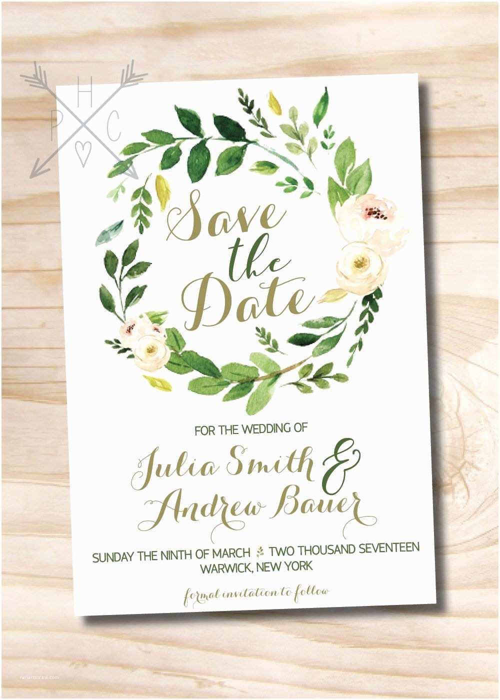 Watercolor Floral Wedding Invitations Watercolor Floral Wreath Wedding Save the Date Foliage