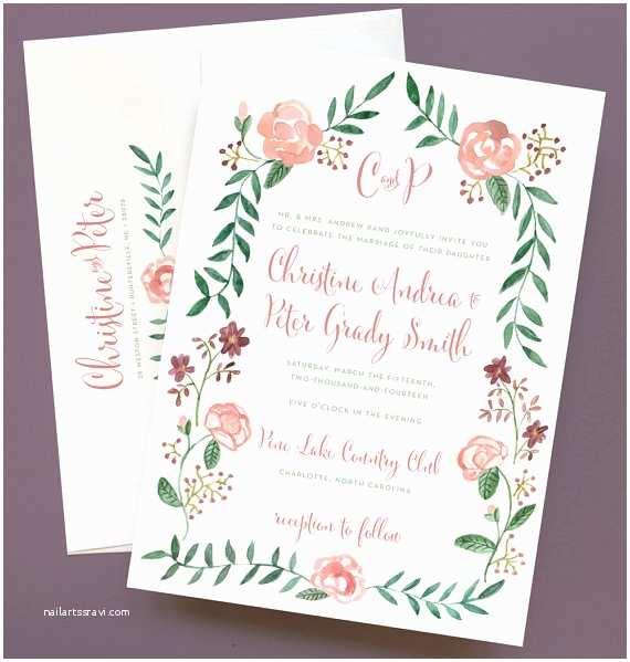 Watercolor Floral Wedding Invitations Watercolor Flower Wedding Invitation with Flower by