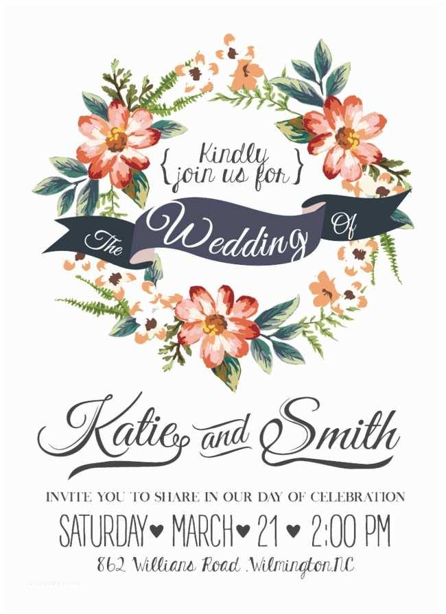 Watercolor Floral Wedding Invitations Watercolor Flowers Wedding Invitations Vector