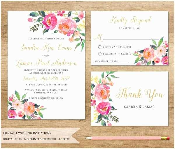 Watercolor Floral Wedding Invitations Wedding Invitations In Pdf