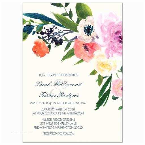 Watercolor Floral Wedding Invitations Wedding Invitations Watercolor Floral From Lemon Leaf Prints