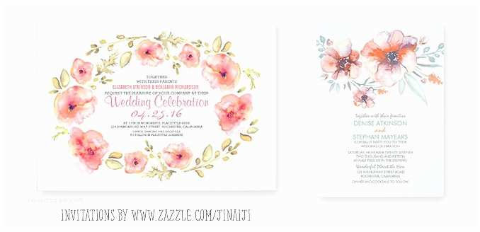 Watercolor Floral Wedding Invitations Wreath Wedding Invitation With Watercolor Flowers –