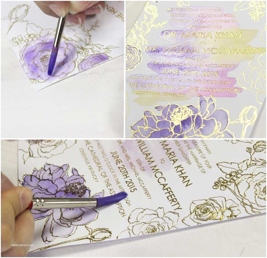 Watercolor Wedding Invitations A Peek Into the Studio Purple Glam Watercolor Wedding