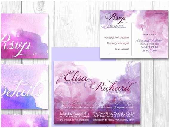 Watercolor Wedding Invitations Watercolor Wedding Invitation Set Modern Wedding
