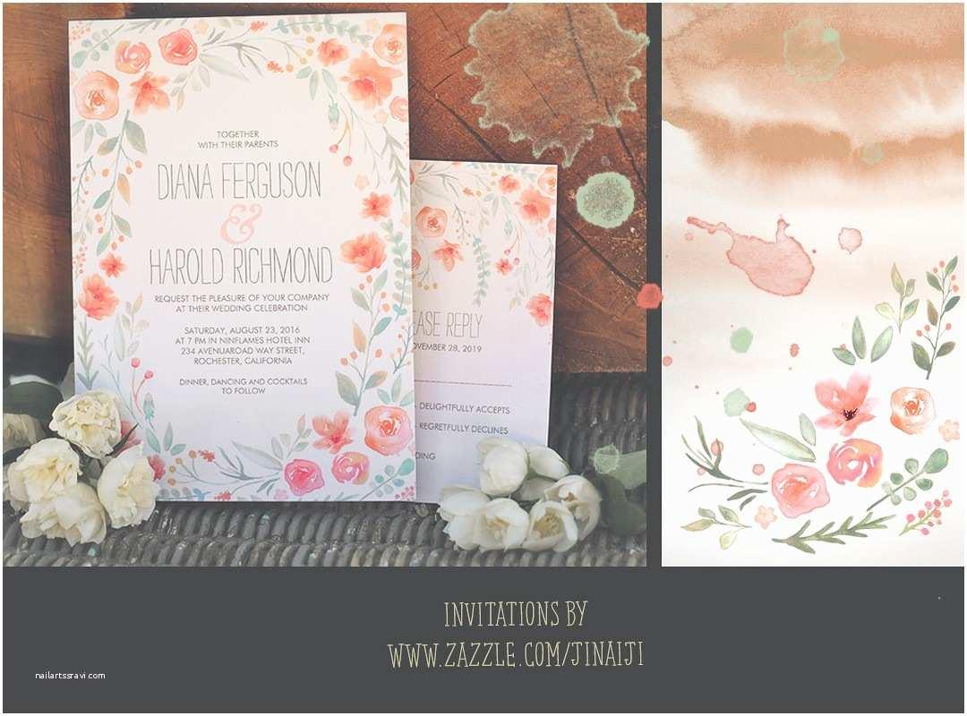 Watercolor Wedding Invitations Wreath Wedding Invitation with Watercolor Flowers – Need