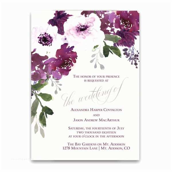 Watercolour Wedding Invitations Burgundy Plum Floral Watercolor Wedding Invitations