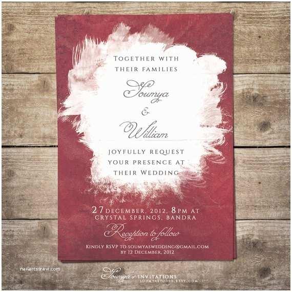 Watercolour Wedding Invitations Burgundy Wedding Invitation Watercolor Wedding Invitation