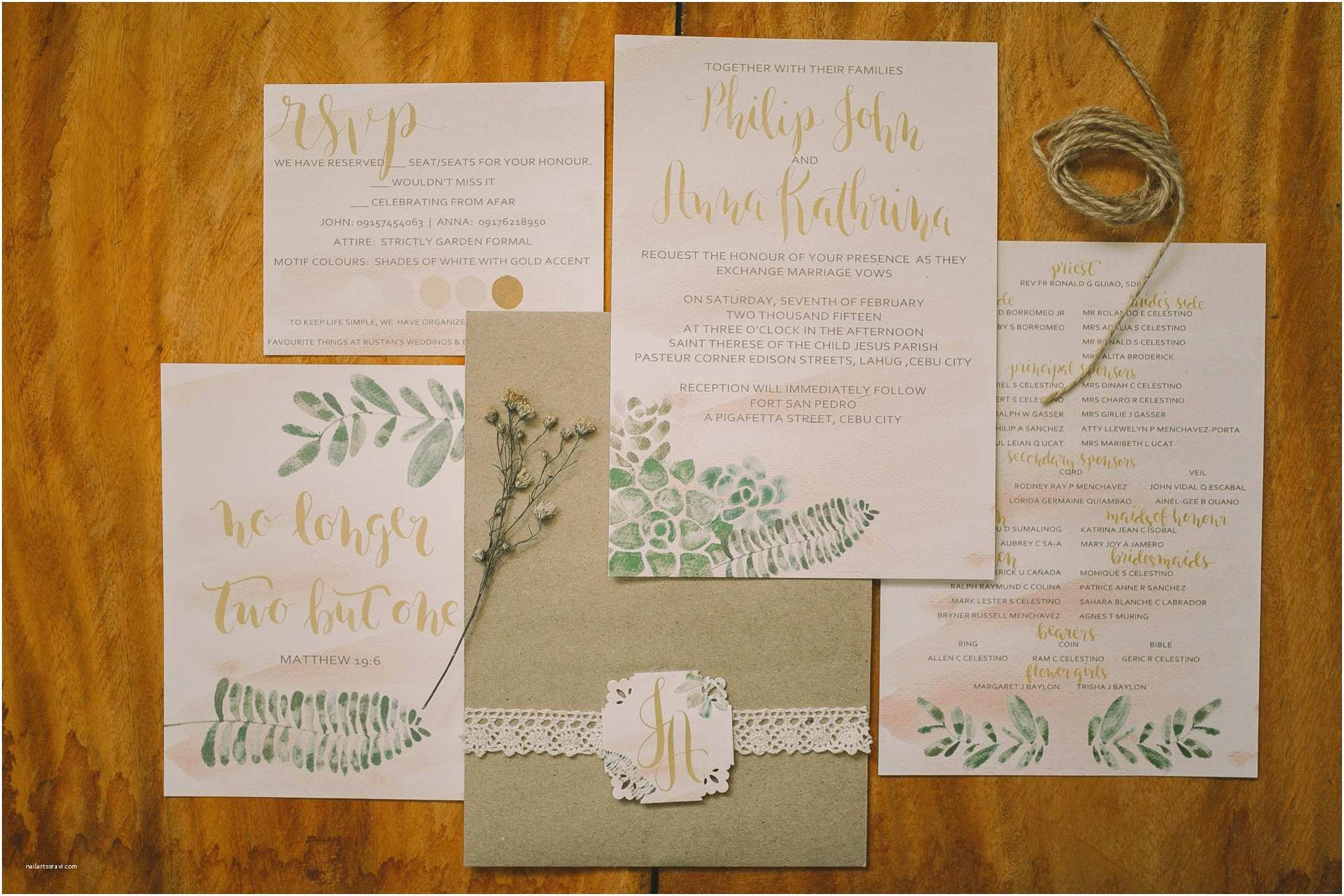 Watercolour Wedding Invitations First Of April Watercolor and Calligraphy Wedding
