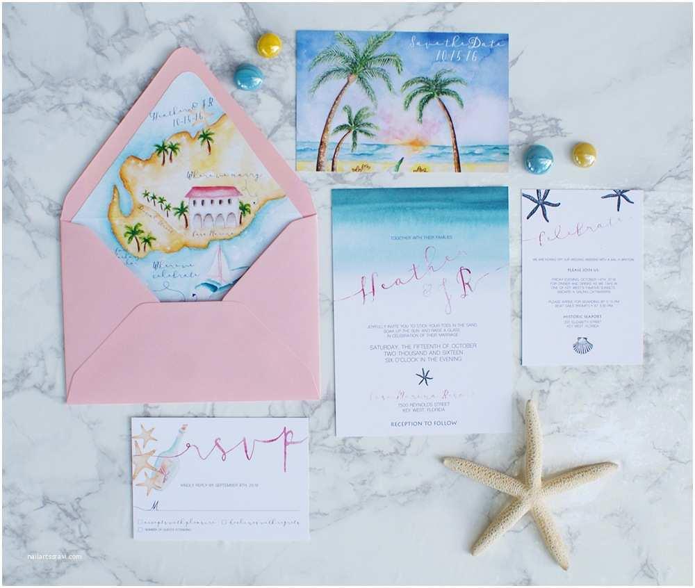 Watercolour Wedding Invitations Watercolor Beach Wedding Invitations with A Wedding Map