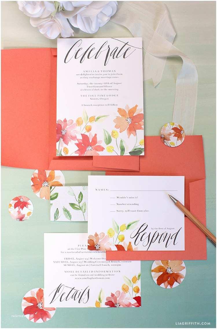 Watercolour Wedding Invitations Watercolor Wedding Invitations Lia Griffith