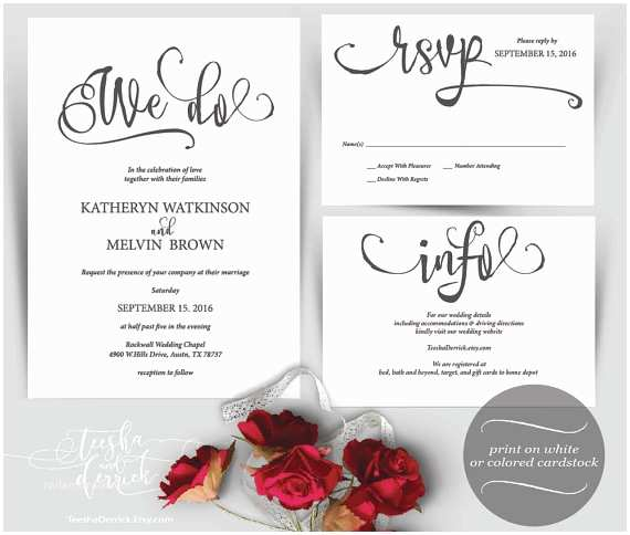 We Do Wedding Invitations We Do Wedding Invitation Instant Download Printable Template