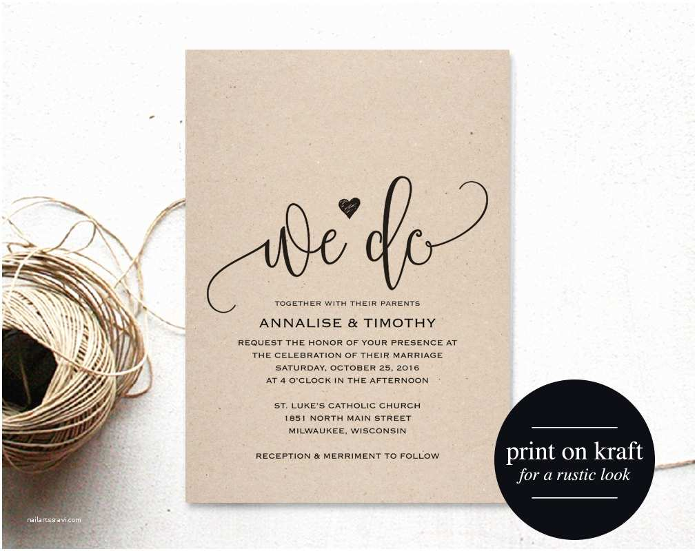 We Do Wedding Invitations We Do Wedding Invitation Template Rustic Kraft Invitation