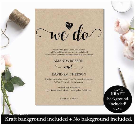We Do Wedding Invitations We Do Wedding Invitation Template Rustic Kraft We Do