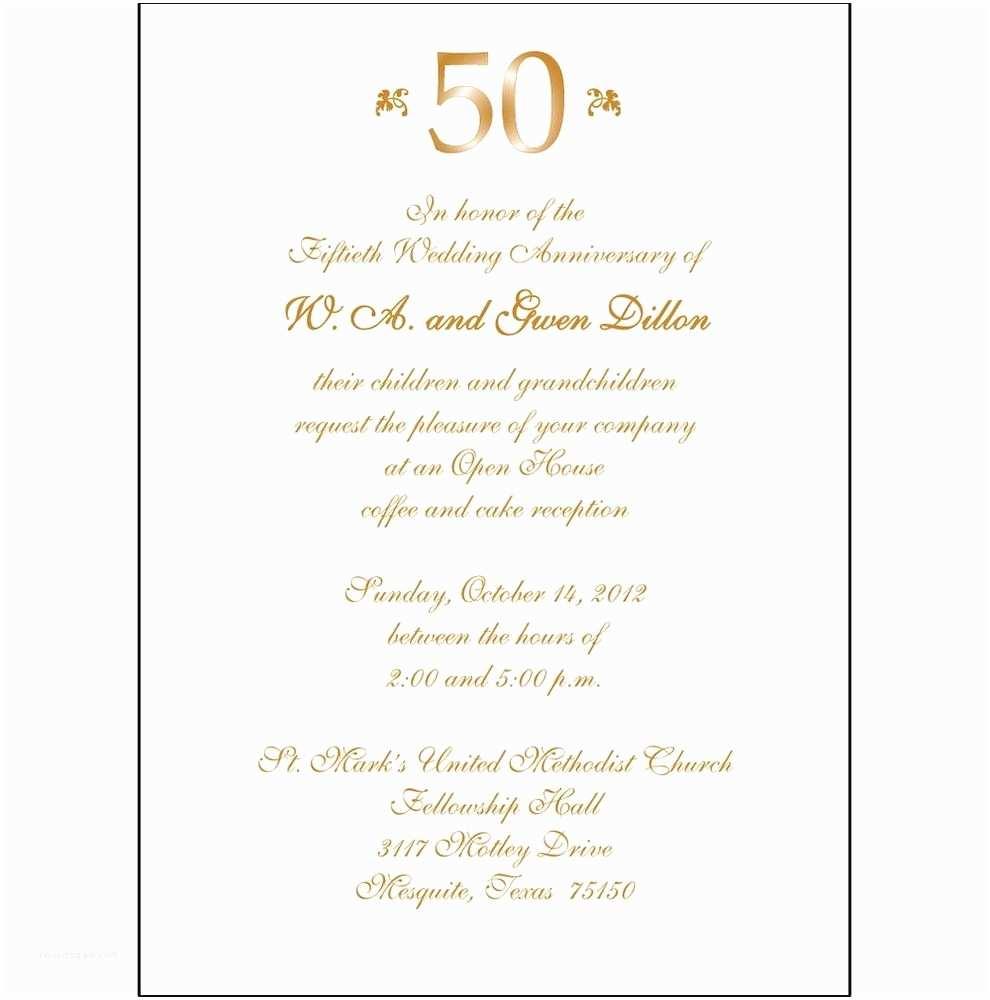 Wedding Anniversary Invitation Wording 50th Anniversary Party Invitations Template