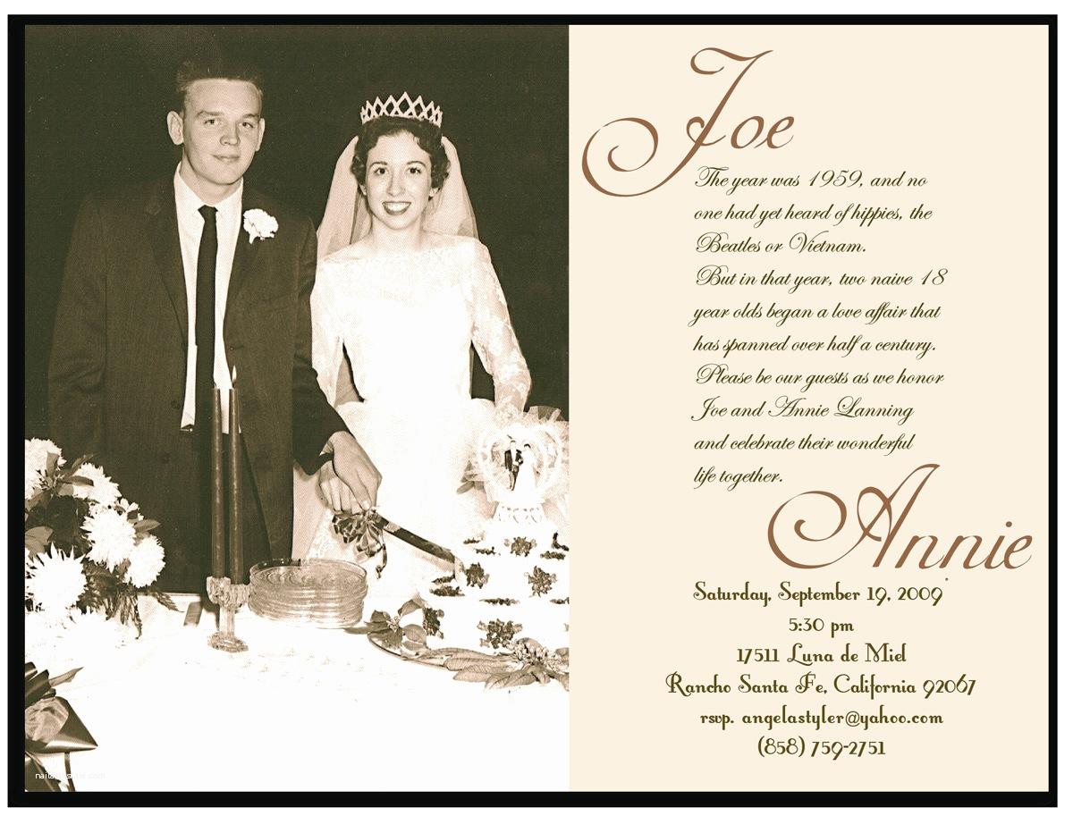 Wedding Anniversary Invitation Wording 50th Wedding Anniversary Invitation Wording