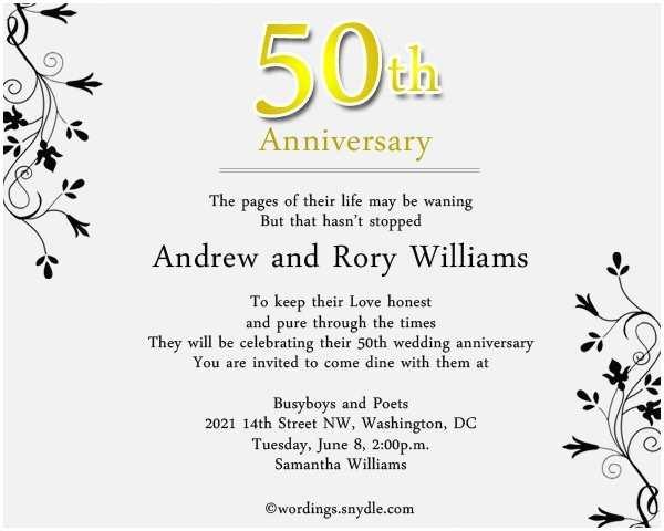 Wedding Anniversary Invitation Wording 50th Wedding Anniversary Party Invitation Wording