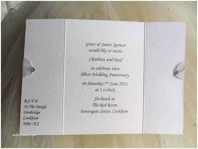 Wedding Anniversary Invitation Wording 60 P Each 25th Silver Wedding Anniversary Invitations