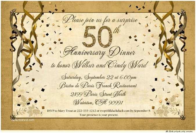 Wedding Anniversary Invitation Wording Festive 50th Anniversary Party Invitation Gold Streamer
