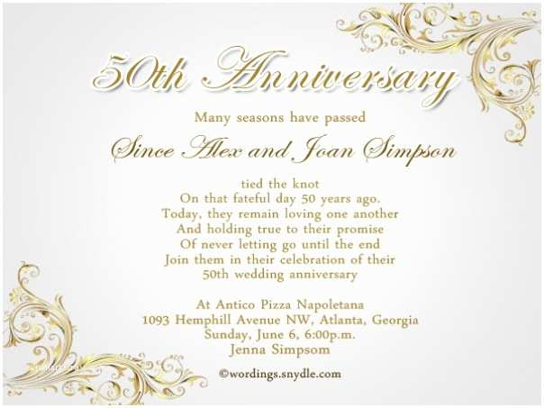Wedding Anniversary Invitation Wording Invitation Wording Anniversary Golden Image Collections