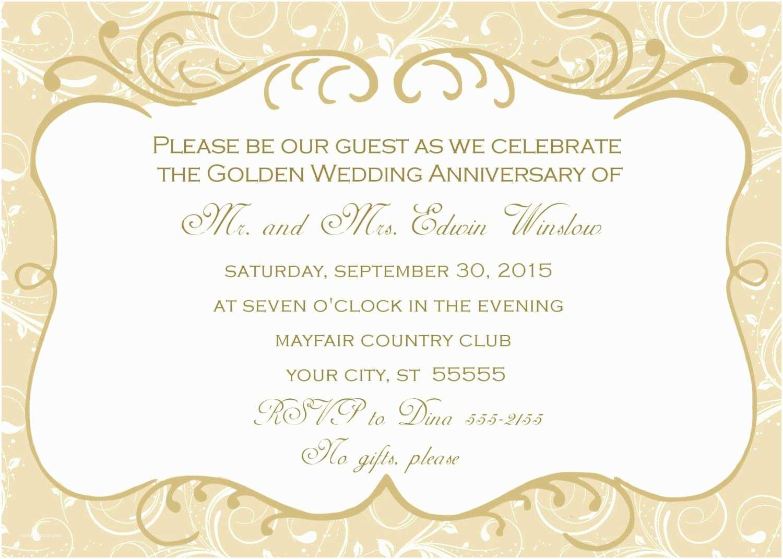 Wedding Anniversary Invitation Wording 50th