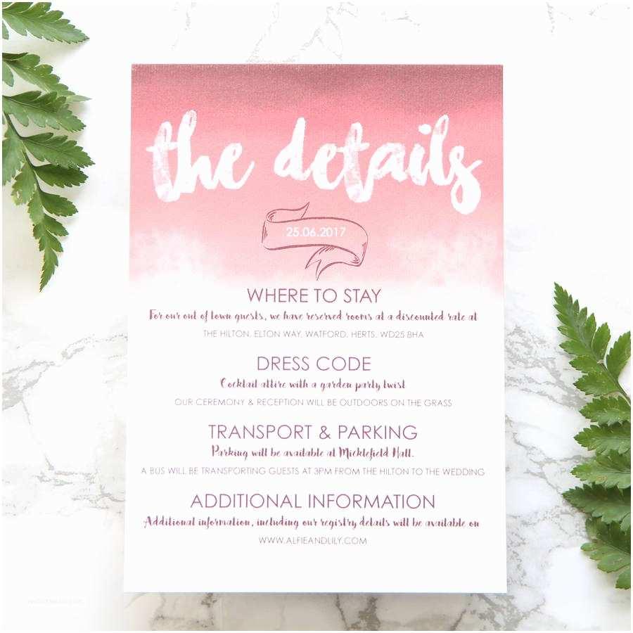 Wedding attire Invitation Wedding Invitation Card Dress Code Unique Pink Plum Ombre