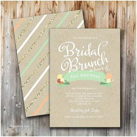 Wedding Brunch Invitations Bridal Brunch Invitation Vintage Glitter