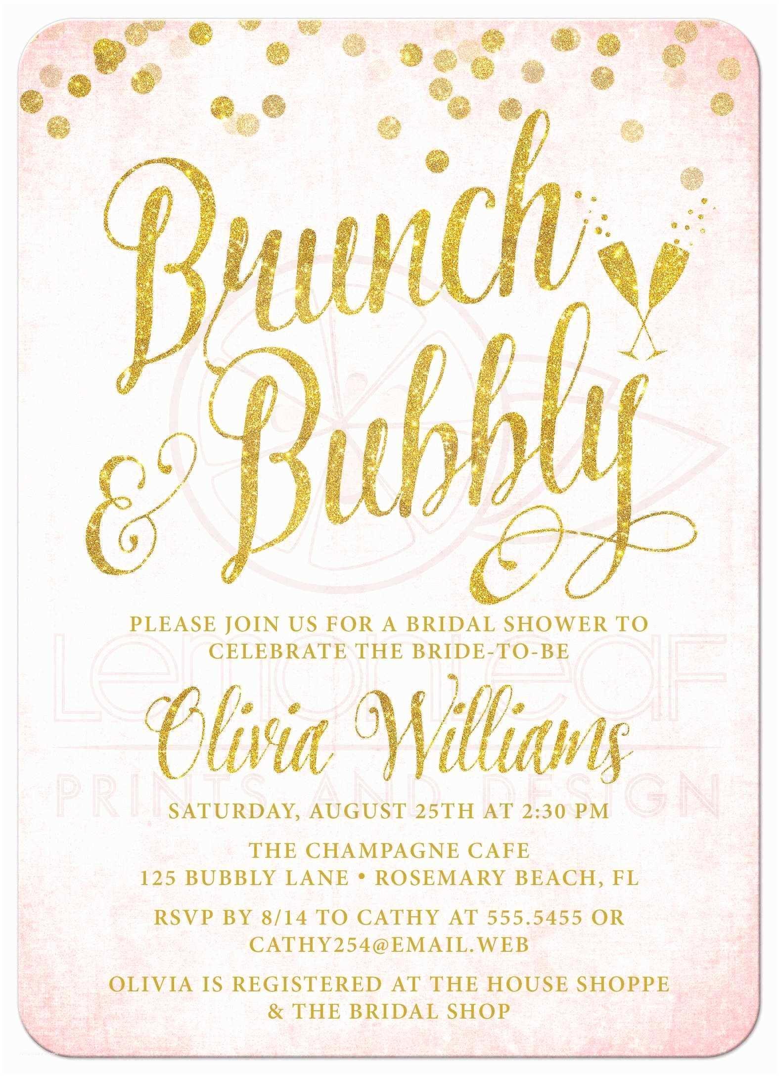 Wedding Brunch Invitations Bridal  Invitations Bridal Brunch