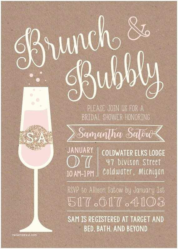 Wedding Brunch Invitations Brunch & Bubbly Printable Bridal Shower Invitation