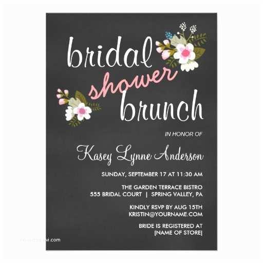 """Wedding Brunch Invitations Chalkboard Floral Bridal Shower Brunch Invites 4 5"""" X 6"""