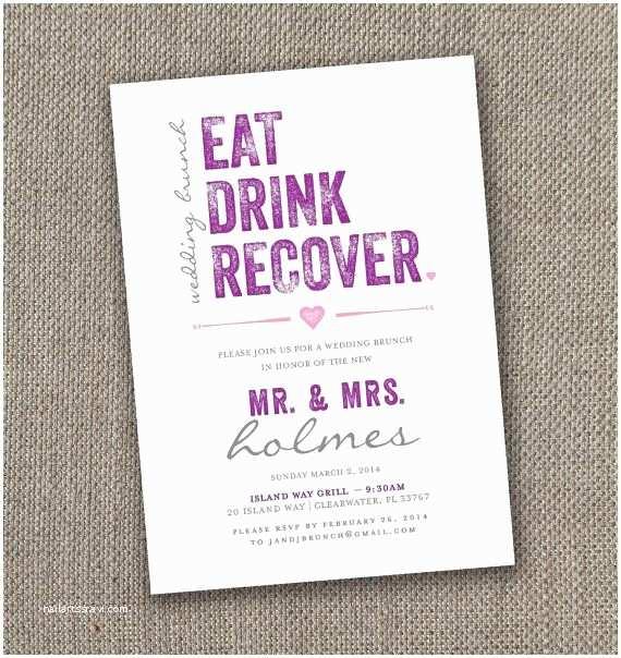 Wedding Brunch Invitations Eat Drink Recover – Wedding Brunch Invitation
