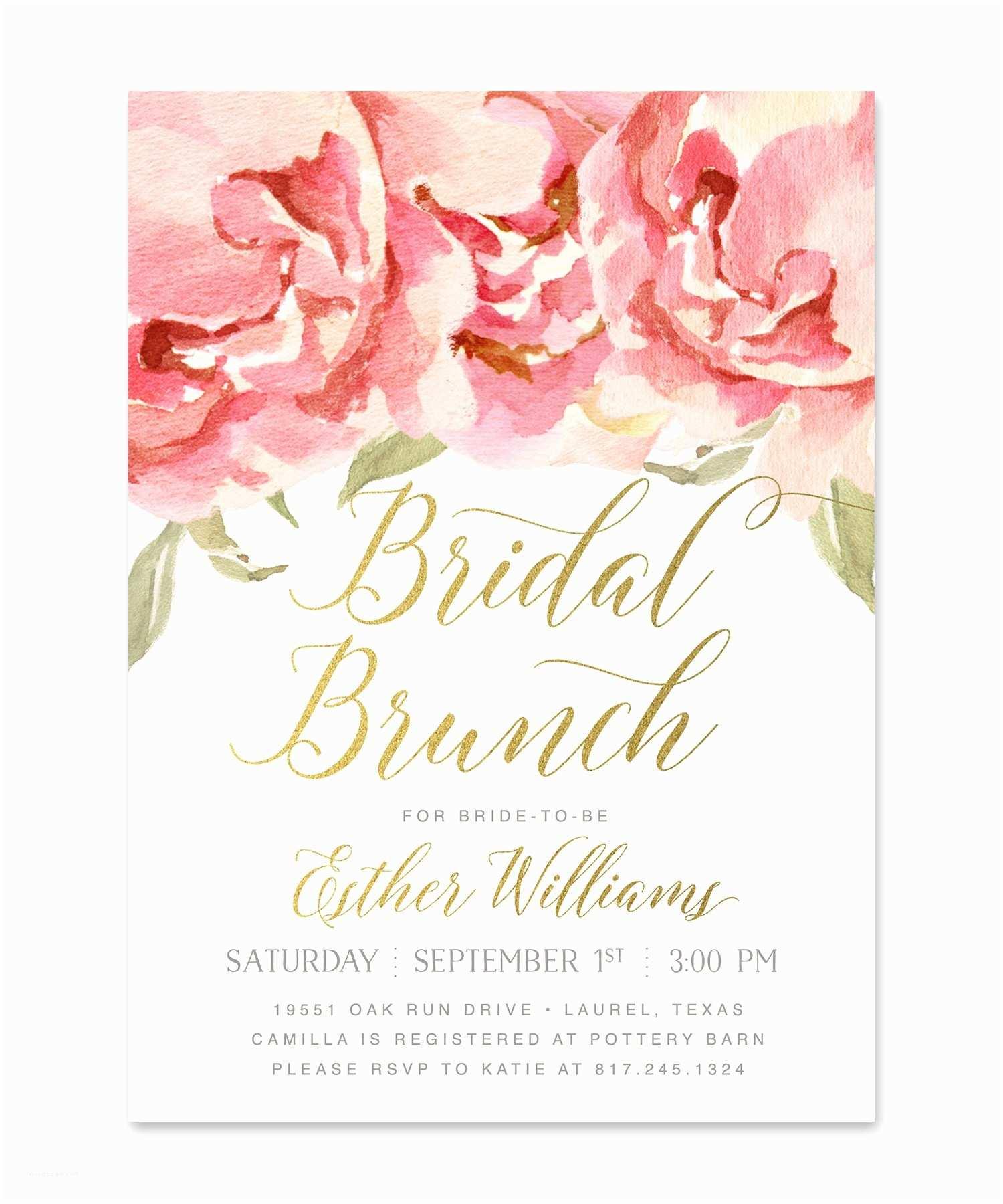 Wedding Brunch Invitations Everly Bridal Shower Brunch Invitation Pink Roses & Gold