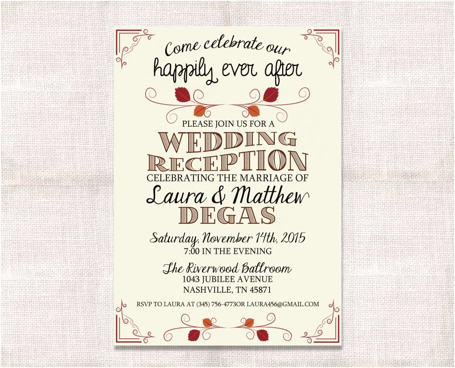 Wedding Celebration Invitations Wedding Reception Celebration after Party Invitation Custom