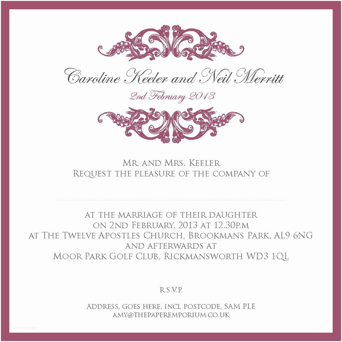 Wedding Ceremony Invitation Wording Wedding Stationery