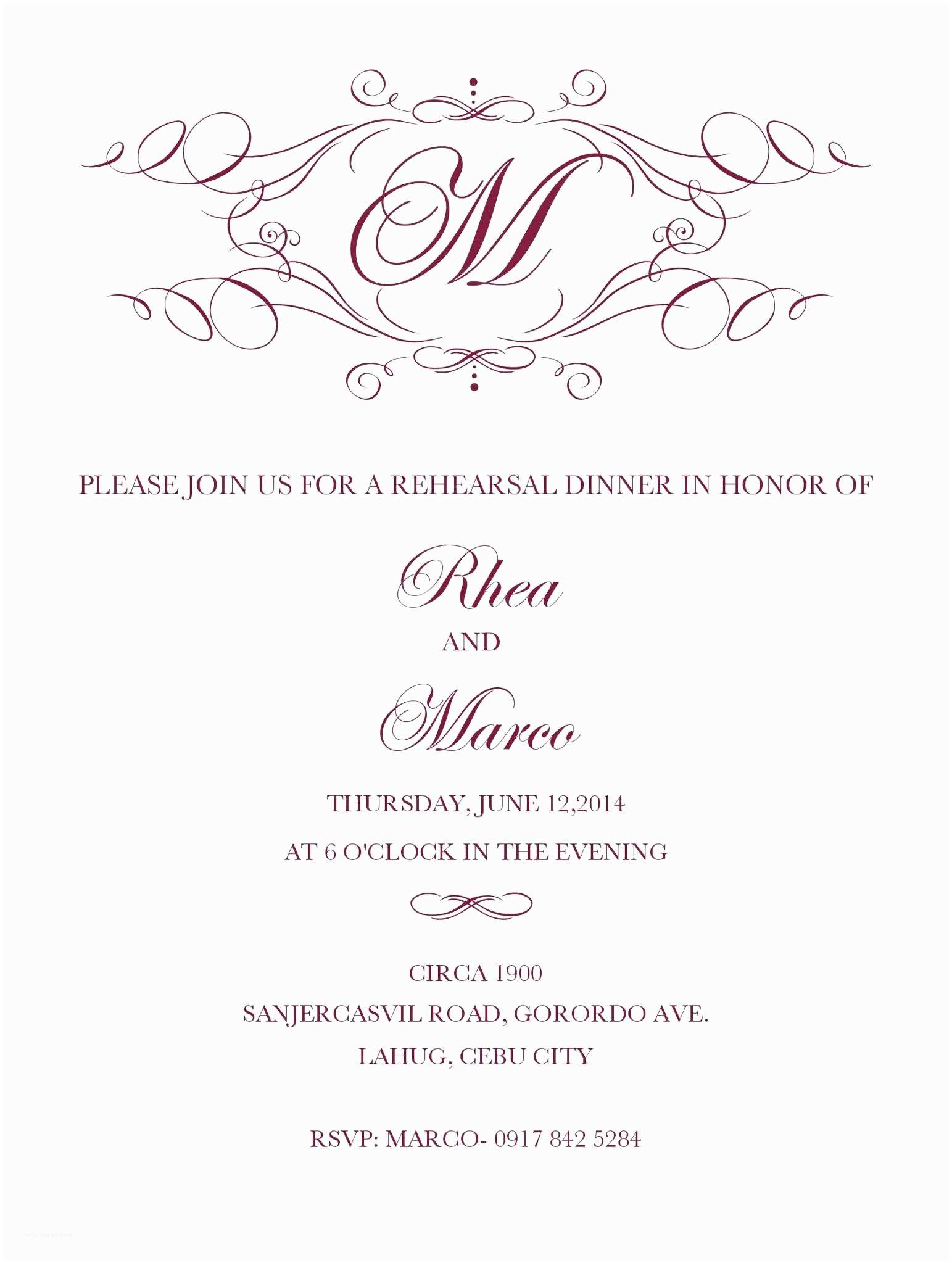 Wedding Dinner Party Invitation Wording Pre