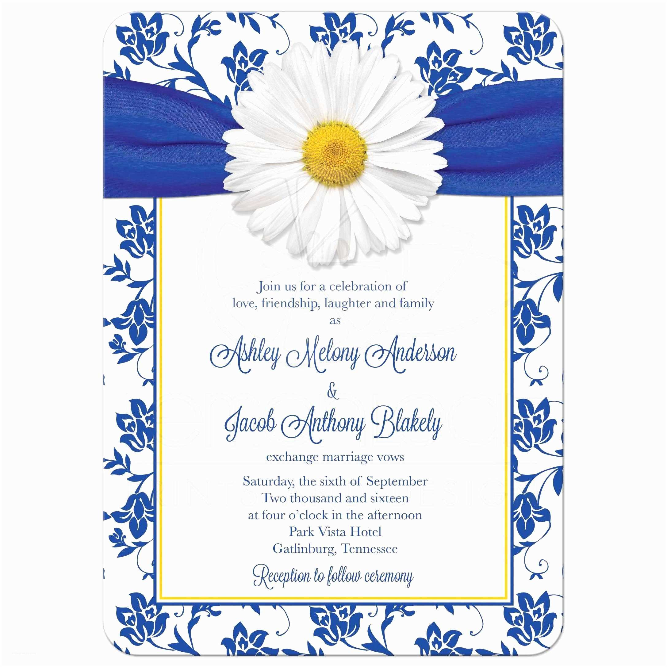 Wedding Engagement Invitation Daisy Wedding Invitation Royal Blue Floral Damask Ribbon