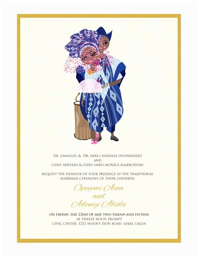 Wedding Engagement Invitation Nigerian Traditional Wedding Invitation Card Yoruba