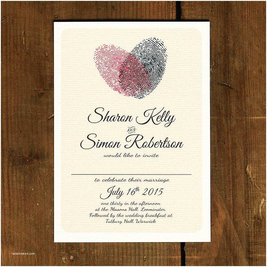 Wedding Engagement Party Invitations Fingerprint Heart Wedding Invitation and Save the Date by