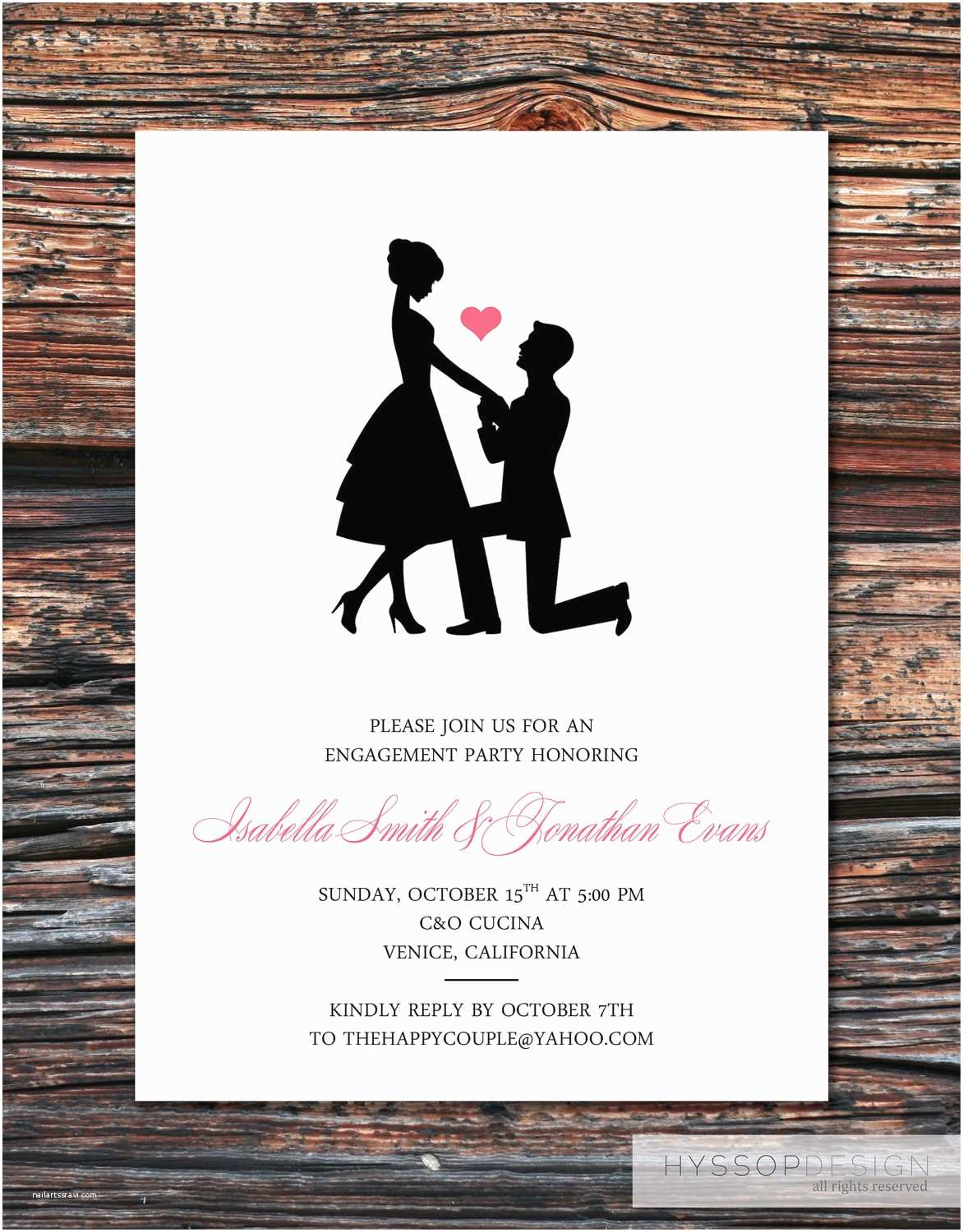 Wedding Engagement Party Invitations Printable Diy Sweet Silhouette Proposal Engagement Party