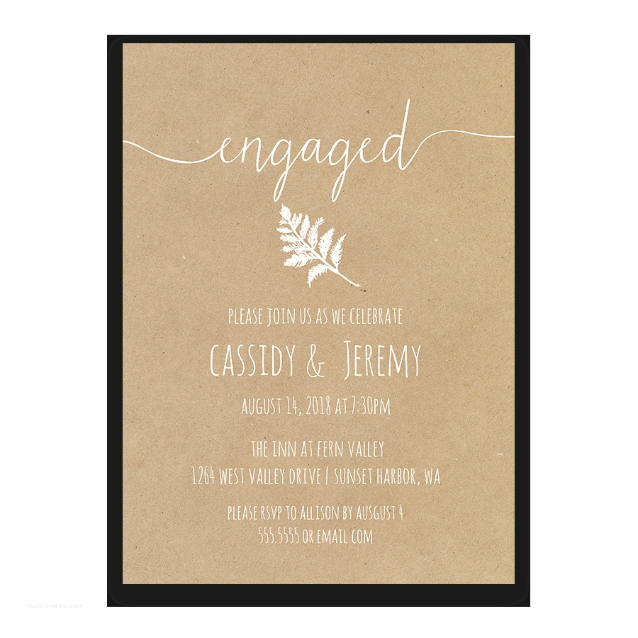 Wedding Engagement Party Invitations Rustic Kraft Paper Engagement Party Invitation Fern