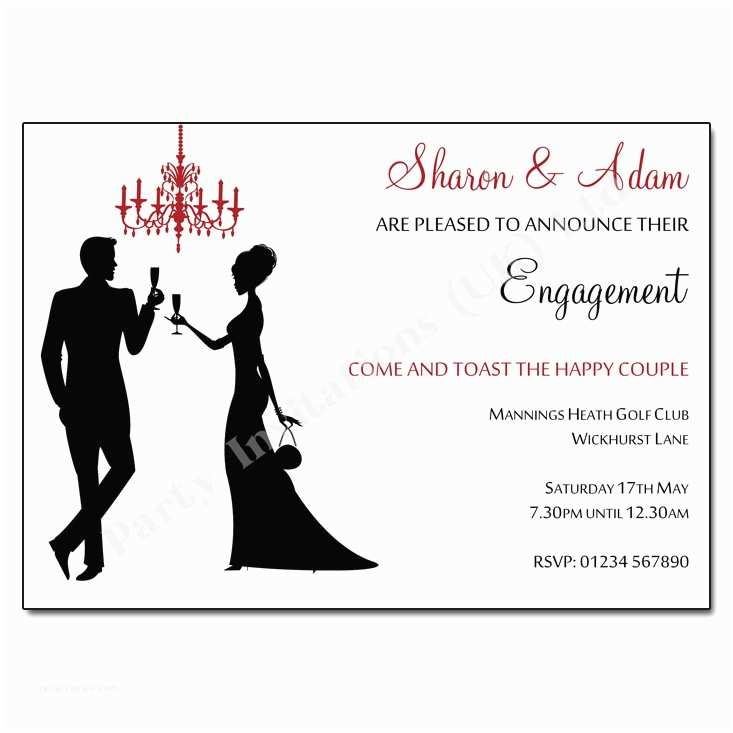 Wedding Engagement Party Invitations Silhouettes Chandelier Engagement Invitation