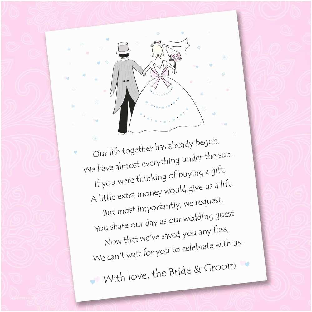 Wedding Gift Using Invitation 25 X Wedding Poem Cards for Your Invitations ask