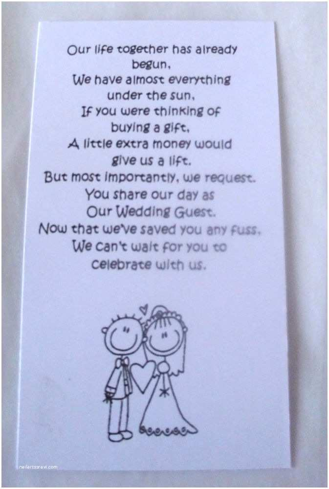 Wedding Gift Using Invitation 50 Small Wedding Gift Poem Cards asking for Money Bride