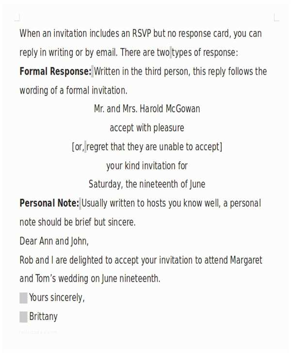 Wedding Invitation Acceptance Letter 16 formal Invitation Letters
