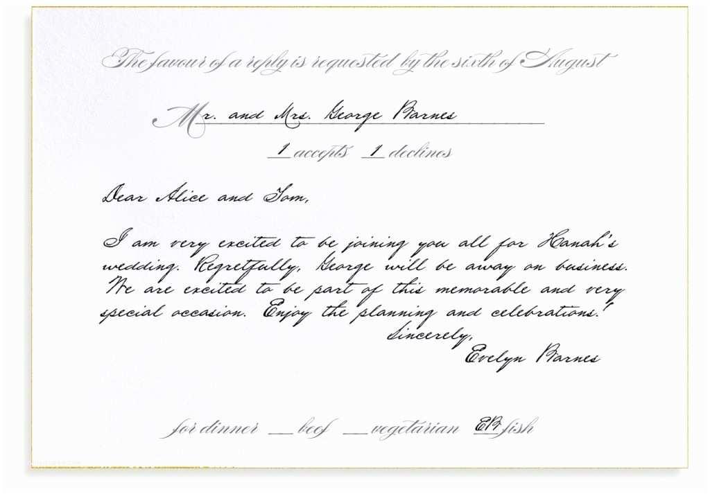 Wedding Invitation Acceptance Letter Rsvp Etiquette Traditional Favor Dinner Options Filled Out