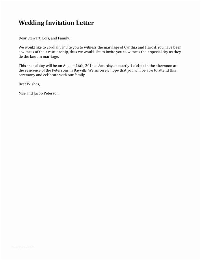 Wedding Invitation Acceptance Letter Stunning Wedding Invitation Letter