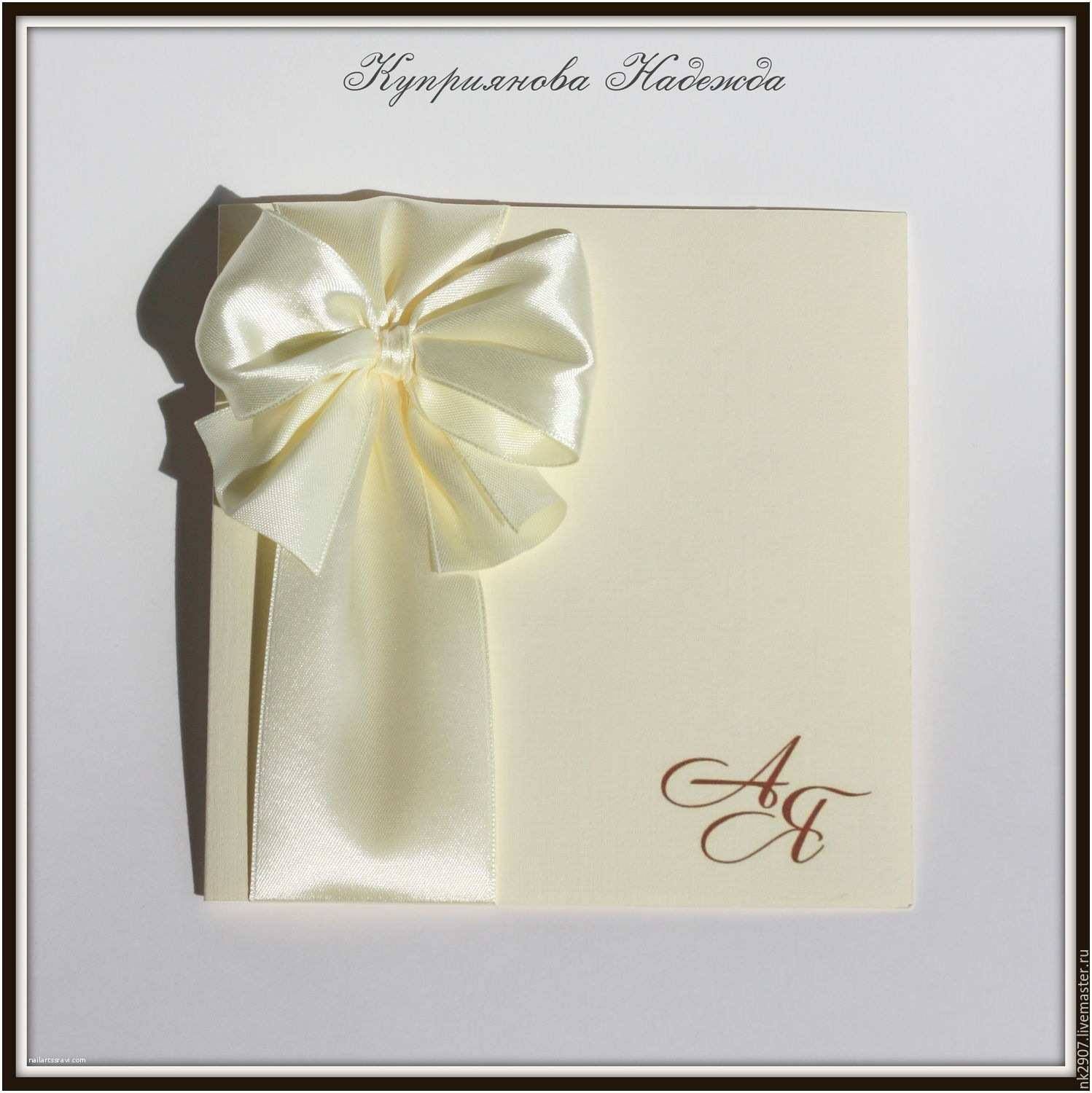 Wedding Invitation Accessories Buy Wedding Invitation with Bow and Initials Line Shop
