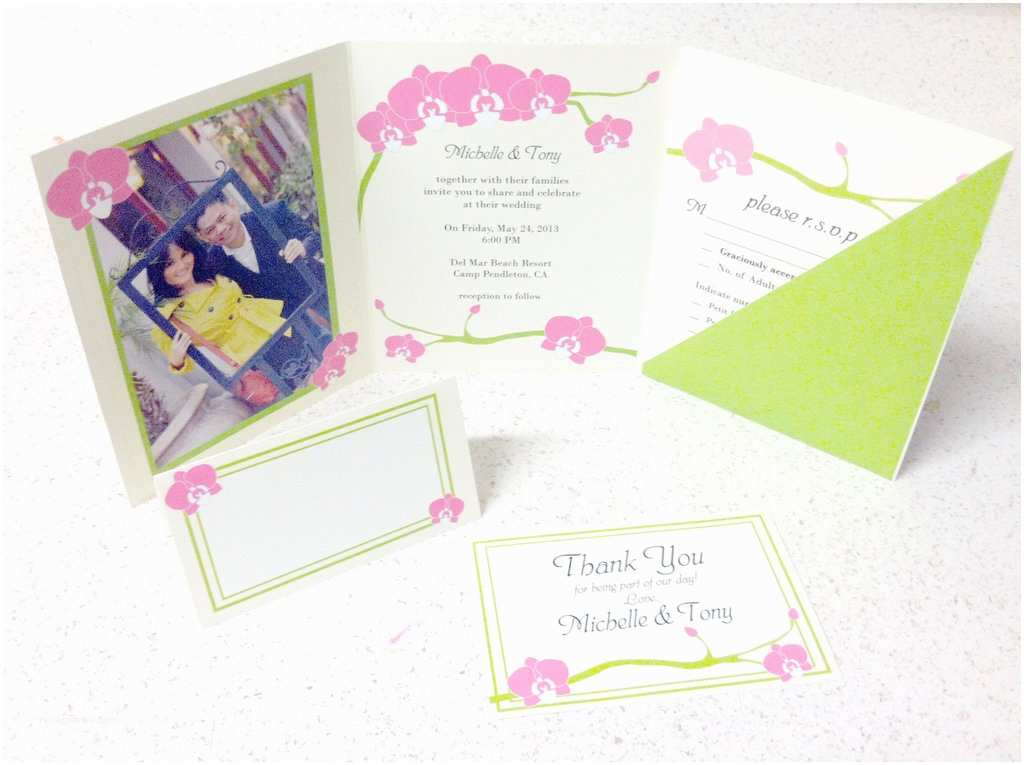 orchid wedding invitation and accessories