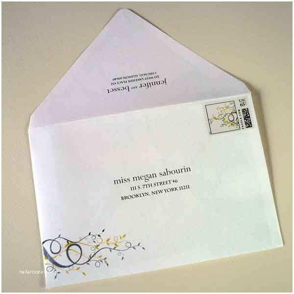 Wedding Invitation Addressing Service Mailing Emvelope Yellow and Gray Wedding Invitation