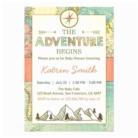 Wedding Invitation Adventure Adventure Begins Baby Shower Invite Travel Map